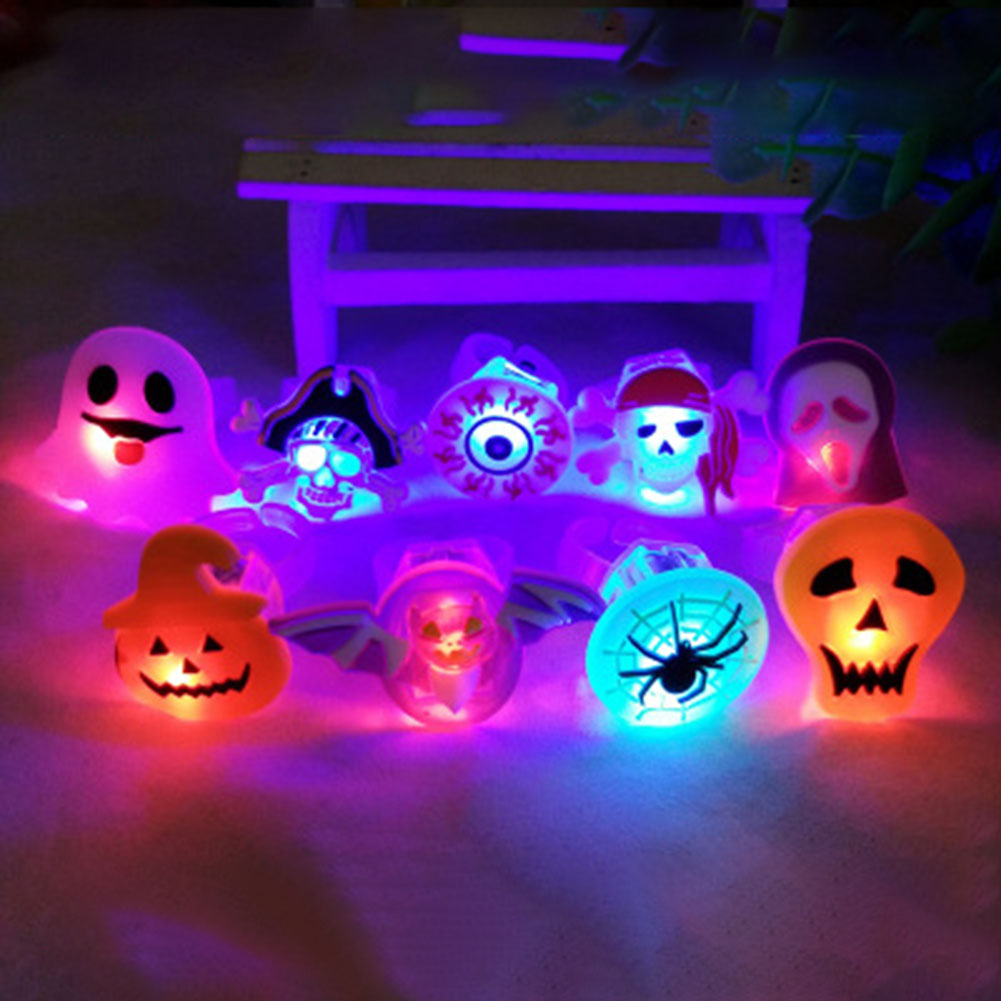 Electronic Halloween Decorations: Kids Cartoon LED Flashing Light Up Glowing Finger Ring