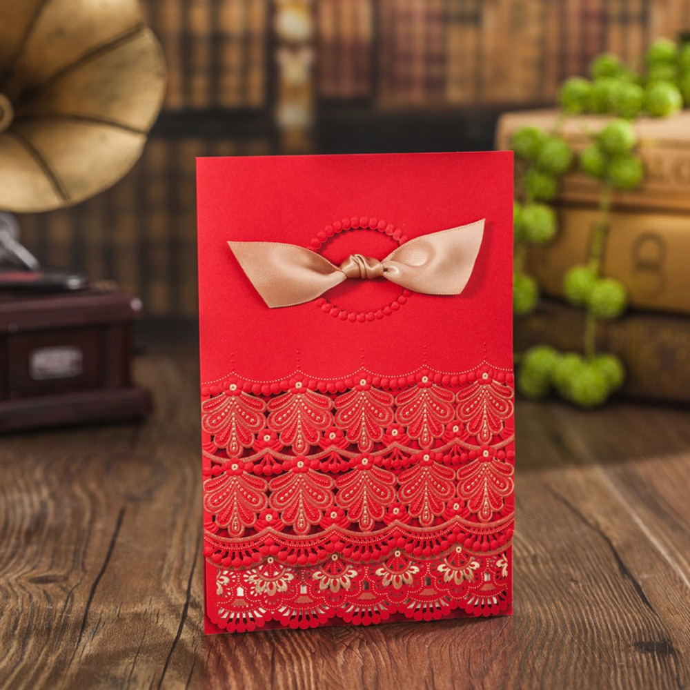 Wishmade Laser Cut Red Wedding Invitations Card with Ribbon Elegant ...