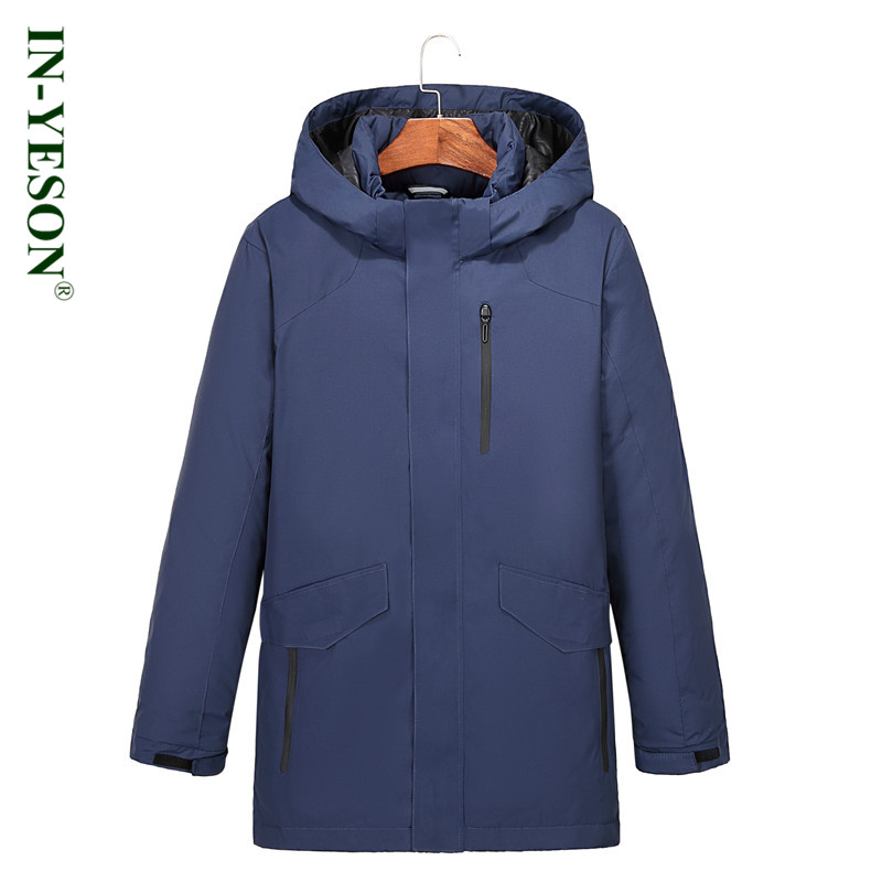 New IN-YESON Brand Long Mens Down Jacket Winter Down Coat Men Solid Color Thermal Thick White Duck Down Jacket Men Overcoat
