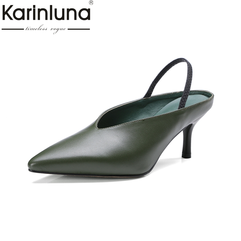 Karinluna cow leather Size 34-39 Classic thin Heel Shoes Woman slip on black Pumps casual pointed toe fashion genuine leather 247 classic leather