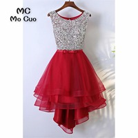 2018 New High Low Gown Beaded Homecoming dress Short Scoop Tank Bow Cocktail party dress Organza short homecoming dress