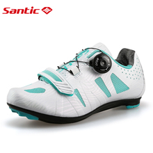 Santic Women Pro Cycling Shoes Road Bike Shoes Lace-up Breathable TPU+Mesh Upper Cycling Racing Team Bicycle Shoes Bike santic women pro cycling shoes lady racing road bike shoes breathable bicycle shoes riding sneakers zapatillas ciclismo female