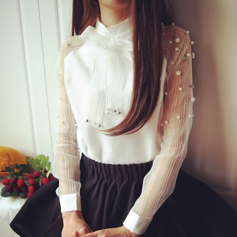 3417602e69d59 YAYEYOU Spring Elegant Organza Bow of Pearl White Blouse Casual Chiffon  Shirt Women Vintage Sleeve Blouses and Tops-in Blouses   Shirts from Women s  ...