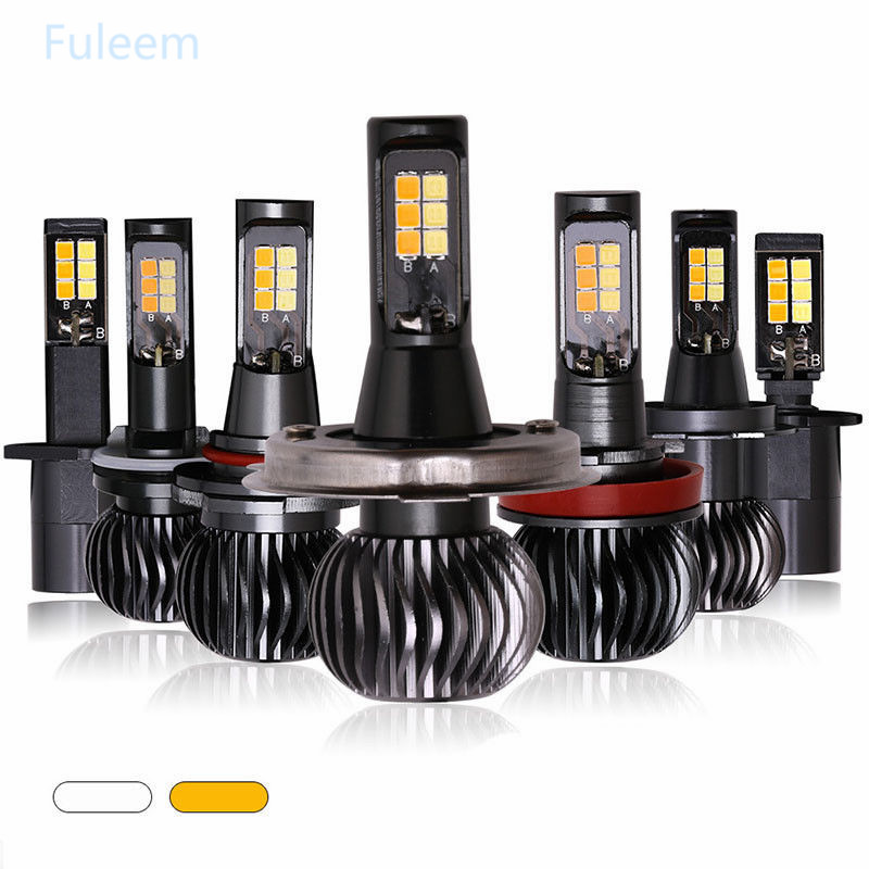 Car Lights Automobiles & Motorcycles Fuleem 2pcs 20w 2600lm Led Bulbs White Yellow Dual Color Fog Light Lamps All-in-one Conversion Kits 12v Fast Color