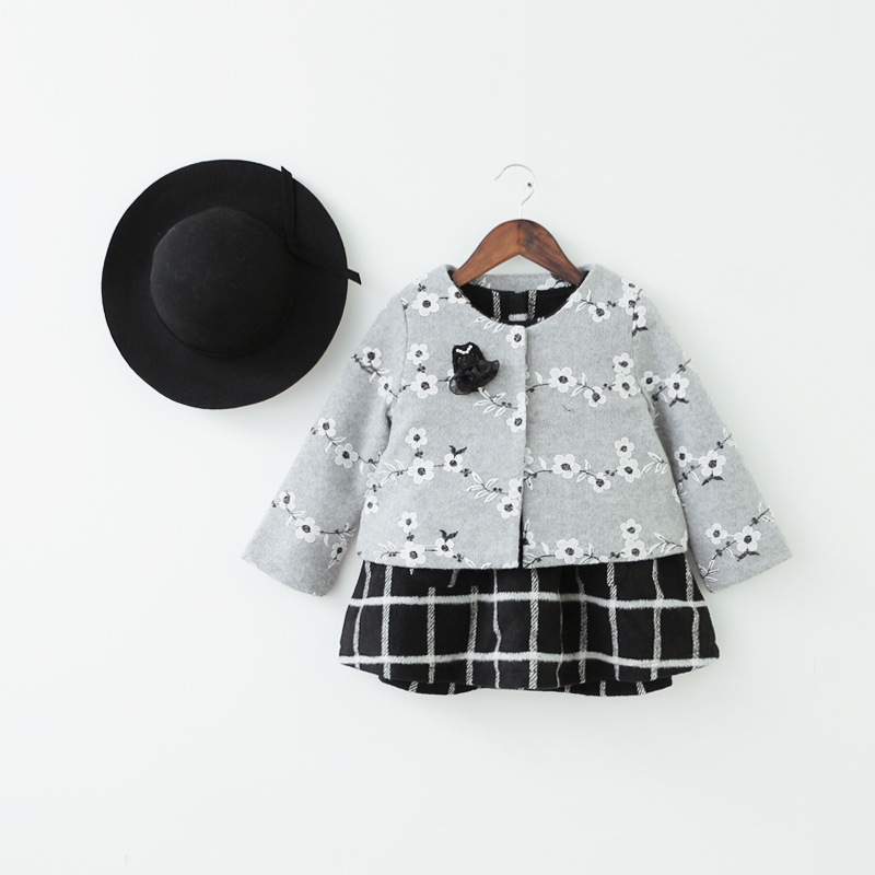 children clothing sets 2017 new autumn winter baby girl clothes sets single breasted floral printed outerwear+plaid dress 2-7T