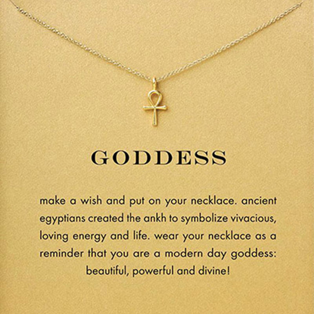 5874cd0ed Sparkling Goddess Ankh Cross Necklace Gold Color Pendant Necklace Clavicle  Chain Statement Necklace Women Jewelry E021