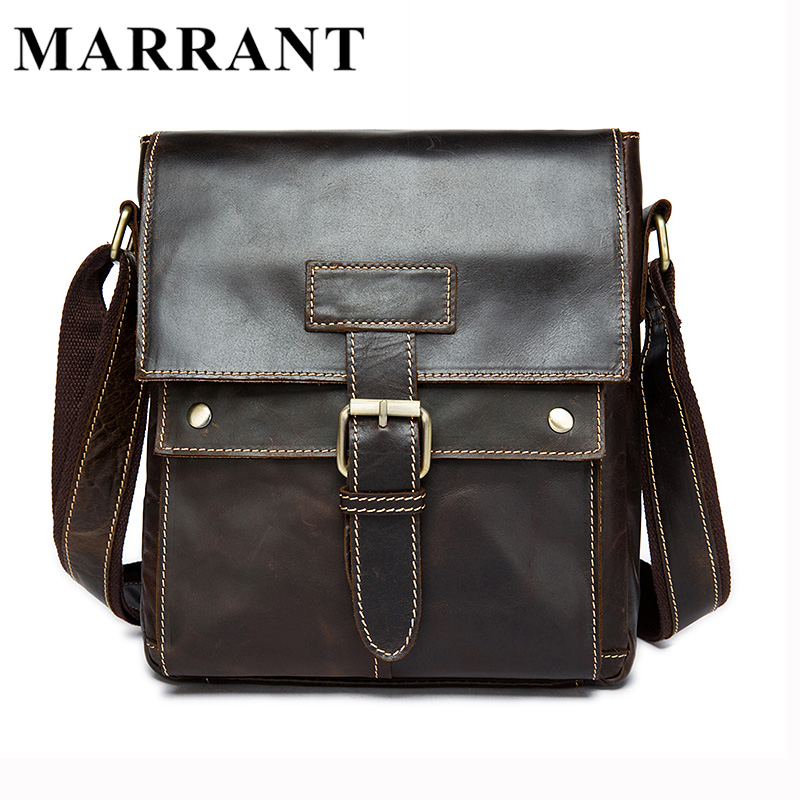 ФОТО MARRANT Genuine Leather Men Bags Hot Sale Male Small Messenger Bag Man Fashion Crossbody Shoulder Bag Men's Travel New Bags 9040