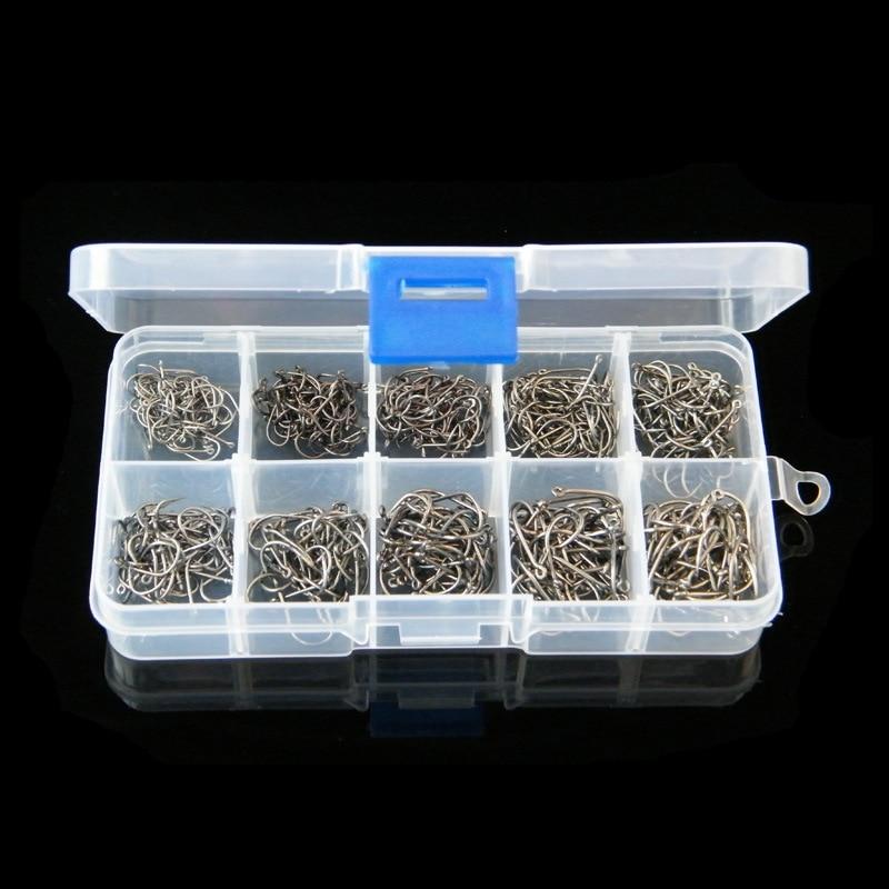 500 Pcs/Lot 3# -12# Carbon Steel Fishing Hook Fishhooks Pesca Jig Head Fishing Hooks with Hole Carp Fishing Tackle Box