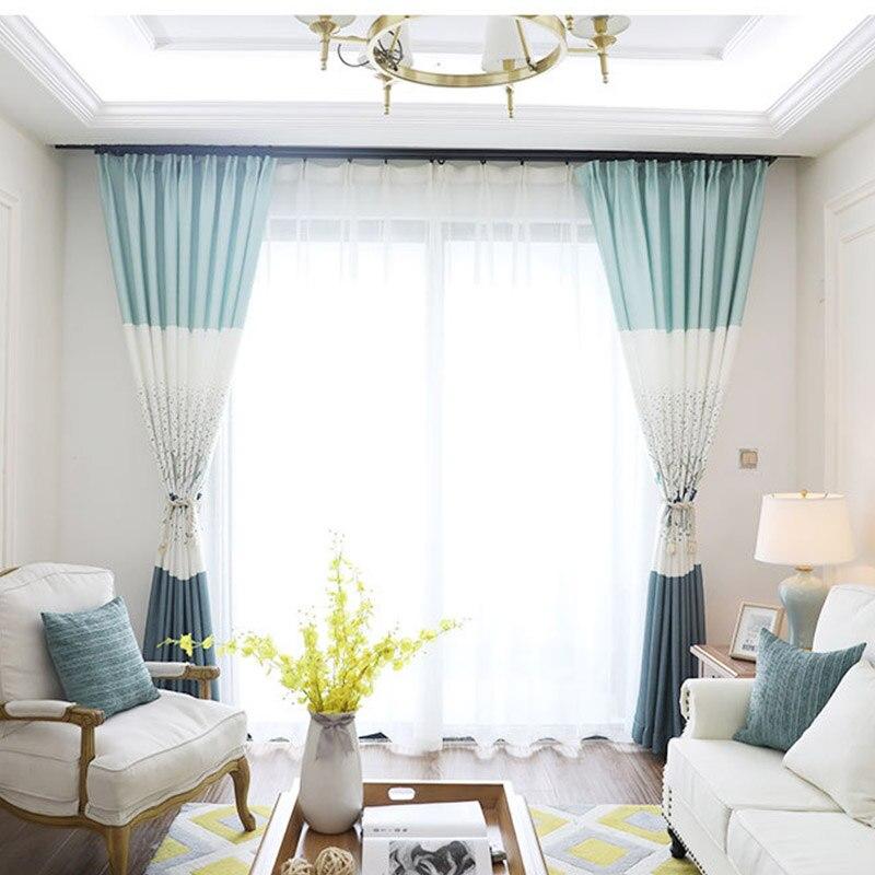 € 7.69 43% de réduction|Impression moderne coton et lin rideaux pour salon  cerf arbres bleu blanc gris tissu rideau fenêtre traitements taille ...