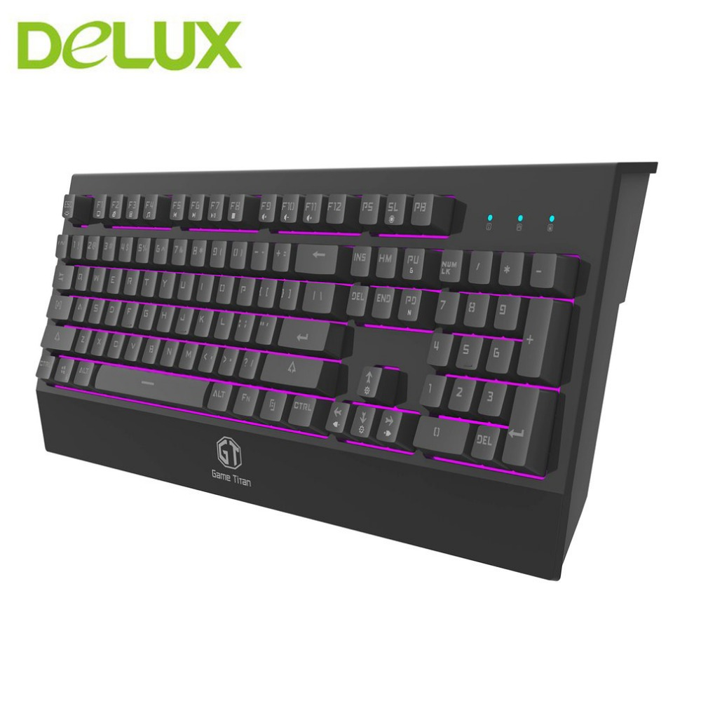 Delux KM9037 Gaming Keyboard 7 colors Backlight USB Wired Multimedia Office Keyboard Key Cap Compatible For Desktop PC Computer baodi g9 usb wired desktop notebook computer backlight luminous gaming mouse black