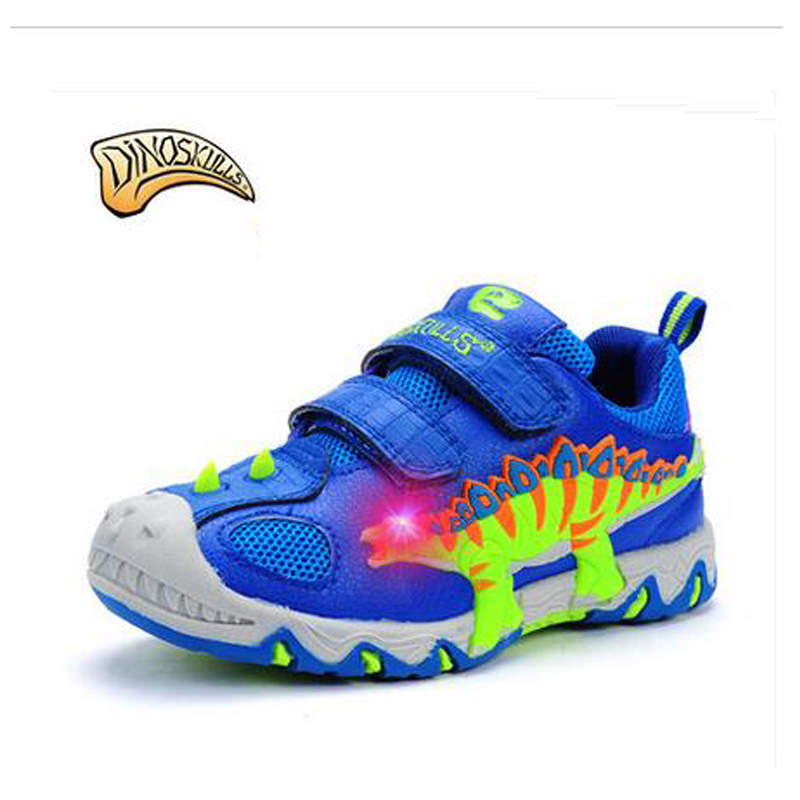Dinoskulls 2017 Autumn Winter Children Glowing Sneakers With Fur Luminous 3D Dinosaur Baby Shoes Kids Casual