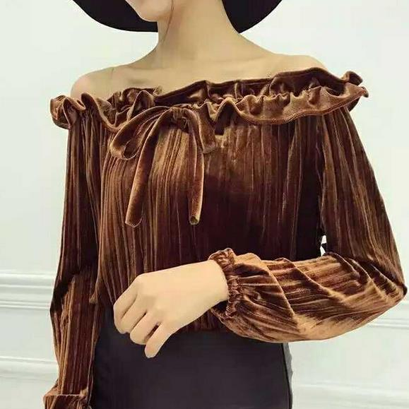 2017 spring new sexy tops tees women ruffles slash neck strapless gold velvet shirt