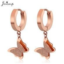 Jisensp – boucles d'oreilles papillon en acier inoxydable, bijoux pour femmes, animaux mignons, filles, enfants, à la mode, cadeau
