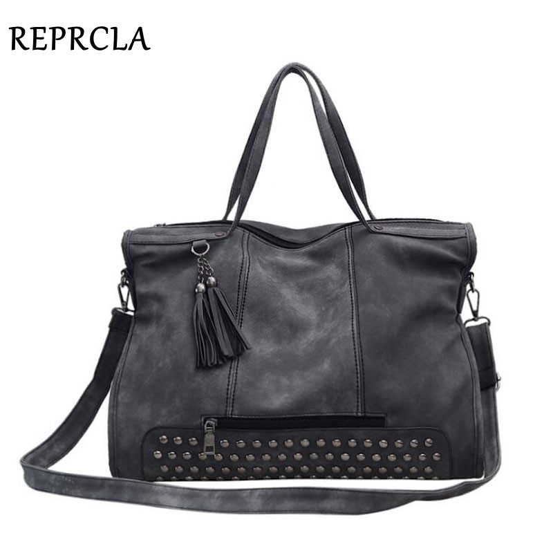 REPRCLA Fashion PU Leather Women Top-handle Bags Designer Handbags Tassel Messenger Bags Rivet Vintage Shoulder Bag Large Tote wostu 2018 luxury brand 925 sterling silver heart love pendant necklaces for women with aaa zircon jewelry gift for lover cqn025