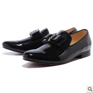 New Arrivals Men Casual Solid Patent Leather Bow Special Formal