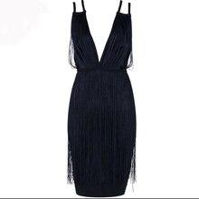 2018 New Black White Red Sexy Tassel Bandage Dress Spaghetti Strap V Neck Backless Chic Vestidos Celebrity Mini Party Dress