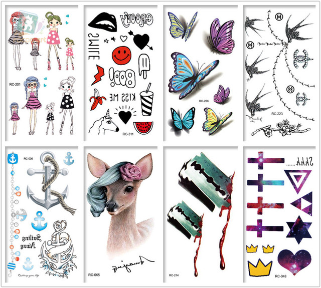Mixed 8 Sheets 3d Tattoo Designs Colorful Tatoo Fake Cartoon Body