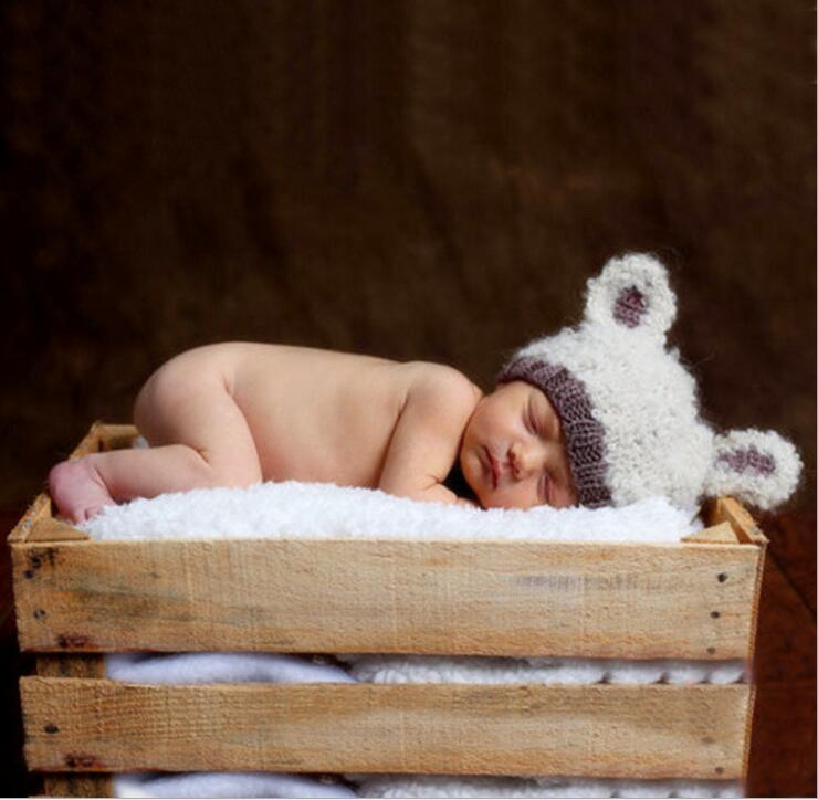 free shipping, Hand Crochet Knitted Baby Hat Teddy Bear Bonnet Photography/Photo Prop , newborn knitting hats size:0-1m,3-4m
