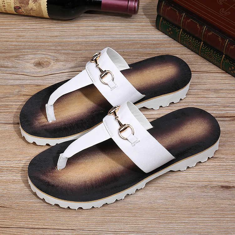 Шлепанцы для мужчин новый стиль пляж перетащить мужская повседневная стилист Хан Версии тенденция повседневная одежда белая кожа сандалии