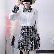 HAMALIEL 2019 Spring Elegant 2 Piece Set Women Tweed Tassels Chiffon Shirt Top Gold