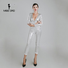 Missord 2017 Sexy deep v long sleeve sequin jumpsuit FT4784
