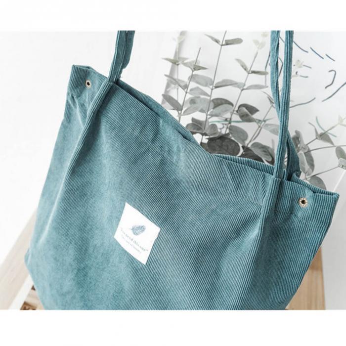 High Capacity Women Corduroy Tote Ladies Casual Shoulder Bag Foldable Reusable Shopping Beach Bag WML99 22