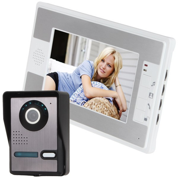 Free shipping 7 Inch video door bell intercom Video Door Phone Doorbell Intercom Kit 1-camera 1-monitor Night Vision стоимость