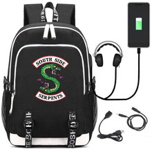 Riverdale South Side Serpents RHS R Backpack Bag w/ USB Fashion Port/Lock /Headphone Travel School Students