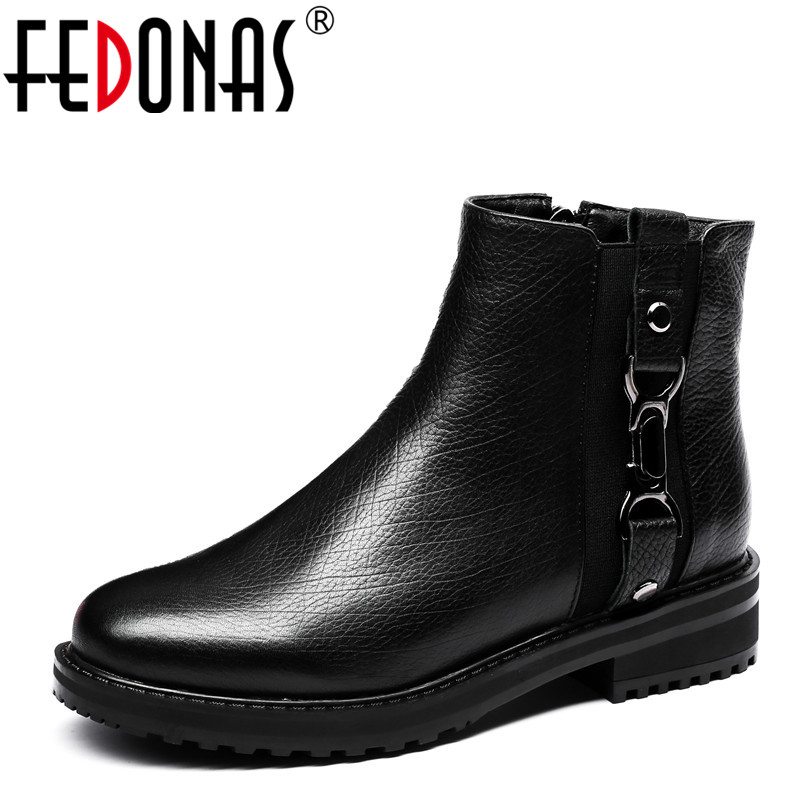 FEDONAS 1Fashion Women Ankle Boots Autumn Winter Warm Genuine Leather High Heels Shoes Woman Round Toe Punk Quality Martin Boots 2018 new arrival genuine leather zipper runway autumn winter boots round toe high heels keep warm elegant women ankle boots l29