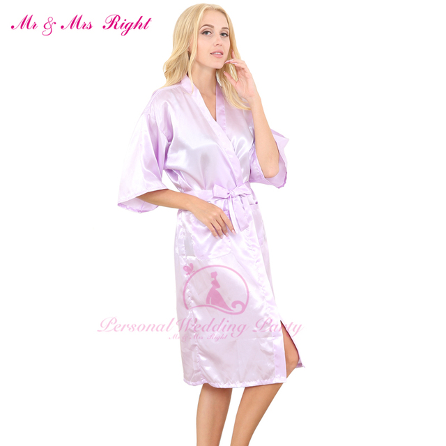 816b50a91 Solid Color Fashion Long Size Kimono Satin Soft Bride Robe Sexy Wedding  Party Dresses Women Nightrgown And Girls Bridesmaid Robe