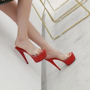 Image 5 - 2019 여름 슬리퍼 6 색 레드 화이트 블랙 여성 플랫폼 신발 섹시한 나이트 클럽 T 무대 쇼 하이힐 15cm 플러스 사이즈 34 41