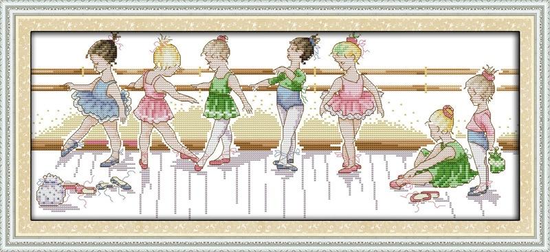 Á£le Petit Ballet Filles Imprime Toile Dmc Point De Croix Compte Kits Imprime Croix Point De Broderie Couture Definir Lighting Com O81