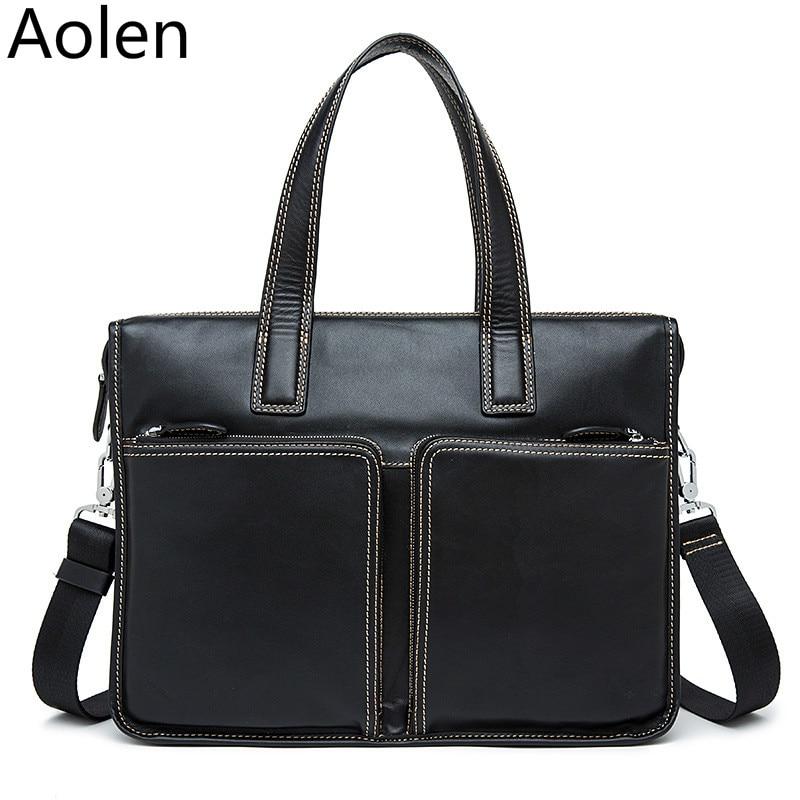 ФОТО Genuine Leather Men Bag Shoulder Vintage Leather Men's Black Zipper Briefcase Laptop Bag Men Messenger Bags Handbag Totes