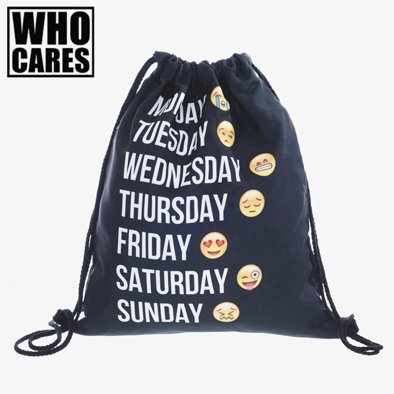 who cares Backpack Emoji black 3D printing 2017 Fashion travel softback women mochila drawstring bag mens backpacks sac a dos