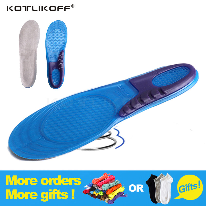 KOTLIKOFF 1 Pair Large Size Orthotic Arch Support Massaging Silicone Anti Slip Gel Soft Sport Shoe