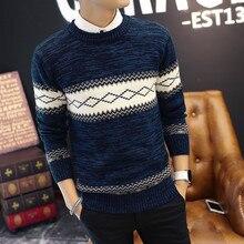 Neue Mode-stil Männer Pullover Zwei Farben Freizeitkleidung Oansatz volle Hülse Argyle Khaki Blau Männliche Pullover Gute Qualität Dünne aussehen
