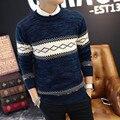 Nuevo Estilo de La Moda de Los Hombres Suéteres de Dos Colores Casual Wear O-cuello completo de La Manga Argyle Caqui Azul Pullovers Masculinos Delgado de Buena Calidad mirada