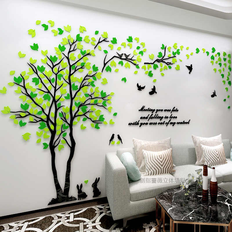 New Arrival Tree Three Dimensional Acrylic Wall Stickers Living Room Bedroom Tv Sofa Mural Art Sticker Love