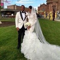 2016 Arabic Long Sleeve Wedding Dress Luxury Tulle Skirts Sexy Bridal Dress African Wedding gowns vestido de noiva Z087