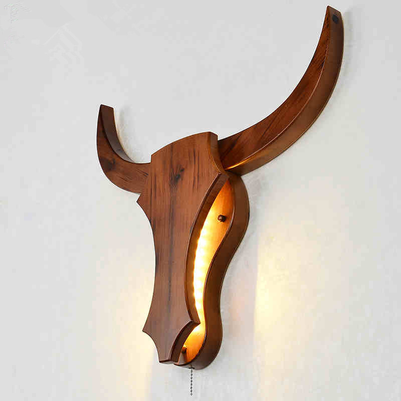 Modern Loft Retro Natural Wood Cow Animal Style Wall Lamps LED Sconce Wall Lights For Living Room bedroom bathroom bar