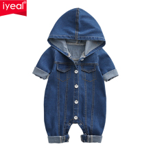 IYEAL Soft Denim Romper Hooded Infant Newborn Jumpsuit
