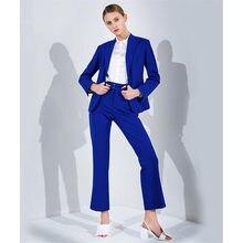 New Women Pant Suits Fashion Slim Ladies Business Office OL Navy Jacket Pants