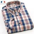 Langmeng 2016 primavera outono dos homens da marca 100% algodão de manga comprida camisas xadrez casuais camisa de vestido de homens do vintage chemise homme