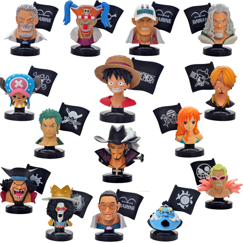 цены  Piece Head portrait Luffy bust bust yellow ape Nami Sanji Reilly PVC Action Figures Collection Model Toy 15pcs/set