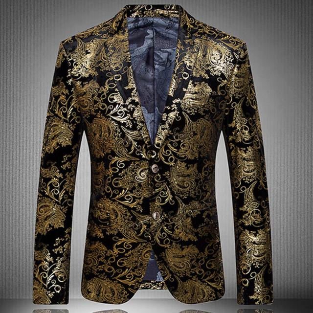 2016 Novo Partido Da Forma de Chegada Único Breasted Homens Paletó Blazer Ouro e Homens Floral Ocasional Magro BlazersPlus Tamanho S-4XL