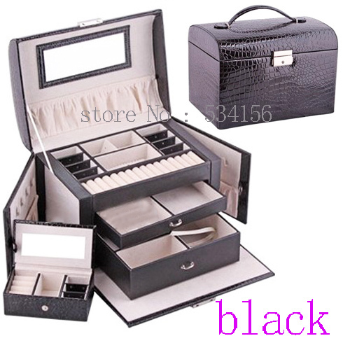Free shipping 3 layer space luxury Practical leather jewelry box earrings necklace pendant jewelry display black gift box