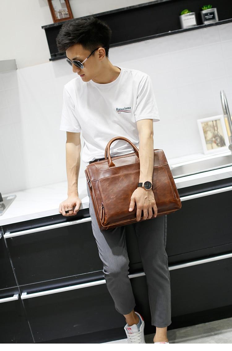 HTB1Ym67kqmgSKJjSsphq6Ay1VXae Brand Men's Briefcase Handbag Crazy Horse Pu Leather Messenger Travel Bag Business Men Tote Bags Man Casual Crossbody Briefcases