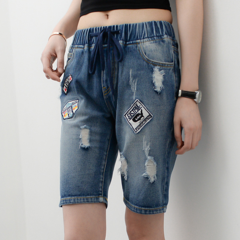 00896e14d9d Plus Size Vintage Ripped Jeans Boyfriend Denim Shorts with Holes Women  Casual Pocket Trousers 2016 Summer Straight Femme 33015-in Jeans from  Women s ...