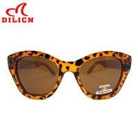DILICN Ladies Tortoise Transparent Cat Eye Sunglasses Women Polarized Oversized Bamboo Sun Glasses Vintage Leopard Eyewear