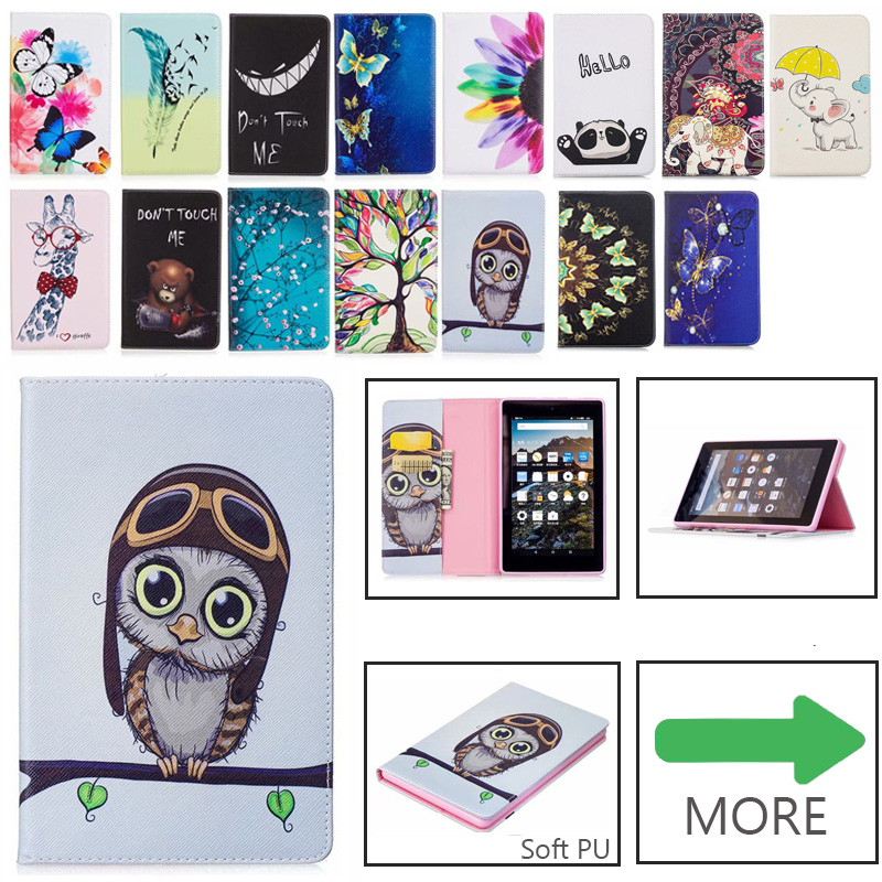 Case For Amazon Kindle Fire 7 Case 2015 2017 5th 7th Generation Cover  Fashion Pattern PU Leather Silicone Funda Stand Capa